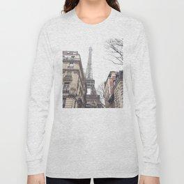Paris streets, Eiffel tower, city skyline, industrial fine art photo, shabby chic Long Sleeve T-shirt