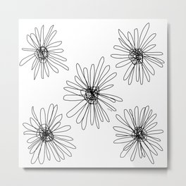 Black and White Flower Illustration no.1 Metal Print