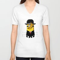 magritte V-neck T-shirts featuring Magritte banana by le.duc