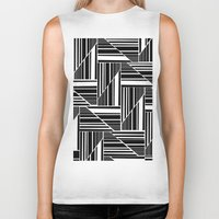 striped Biker Tanks featuring STRIPED PATCHWORK by Louisa Hereford