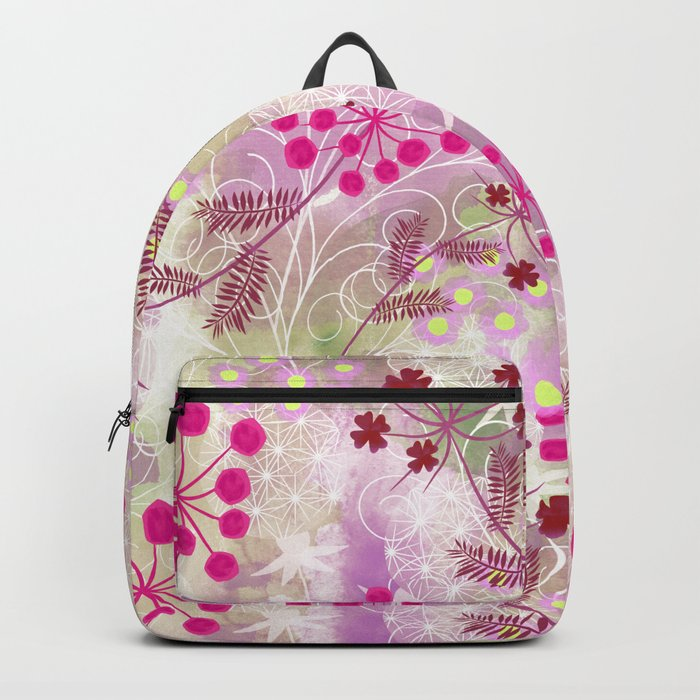 bright floral pattern ,watercolor background. Backpack