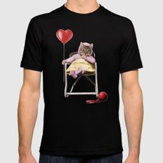 Pretty little Kitty with a heart balloon Mens Fitted Tee MEDIUM Black