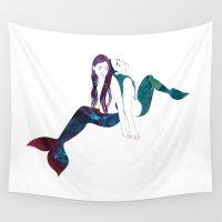 mermaids Wall Tapestries featuring Two Mermaids by Stevyn Llewellyn