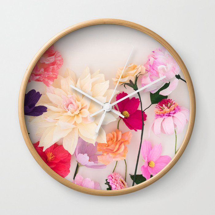 Crepe Paper Flowers Wall Clock By Coelfen