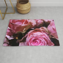 Shabby Chic Pink Roses Rug