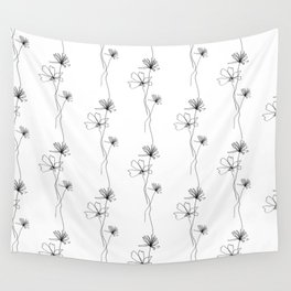 Flowers Line Drawing Pattern Black and White Wall Tapestry