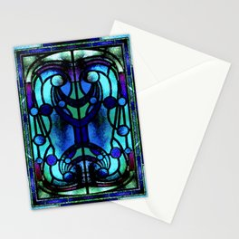 Blue and Aqua Stained Glass Victorian Design Stationery Cards