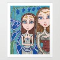 fairies Art Prints featuring Fairies by Jennifer D. S. Stedman