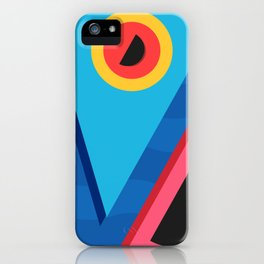 Summer Abstract Art Composition Blue and Pink iPhone Case