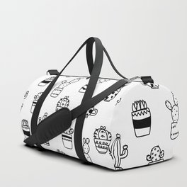Black and White Seamless Cactus pots pattern Duffle Bag