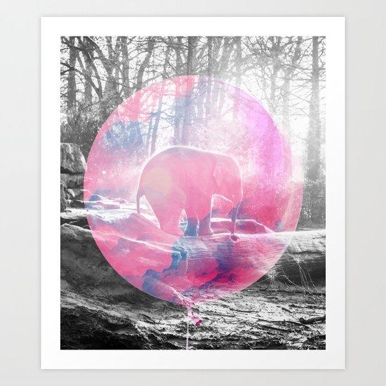 Baby Elephant in a Balloon #society6 #buyart #decor Art Print