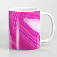agate Mugs featuring Pink Agate Slice by cafelab