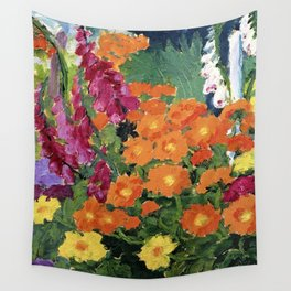 Floral Garden of Iris, Marigold, and Pansies still life floral portrait painting by Emil Nolde Wall Tapestry