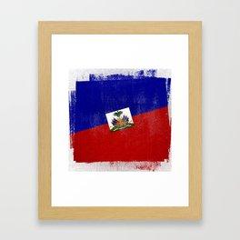 Haitian Distressed Halftone Denim Flag Framed Art Print