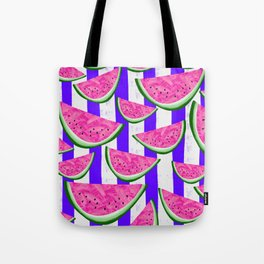 Watermelon Crush on purple stripes Tote Bag
