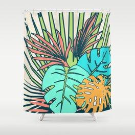 Tropical leaves cream Shower Curtain