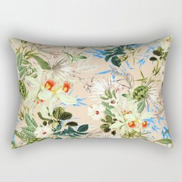 Hibiscus, Orchid, Rosebuds - White Blue Green Rectangular Pillow