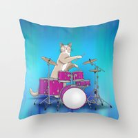 drums Throw Pillows featuring Cat Playing Drums - Blue by Ornaart