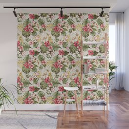 Hard draw tropical flowers and leaf pattern Wall Mural
