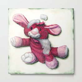 Loved to Pieces Pink Rabbit Dog Toy Metal Print