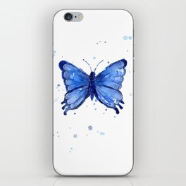 Butterfly Blue Watercolor Animal Painting iPhone Skin