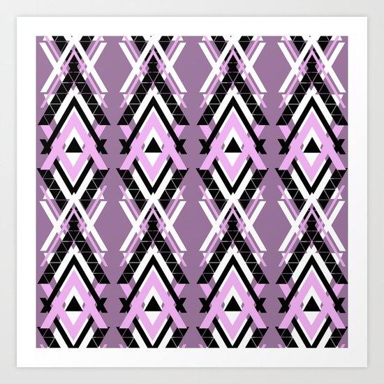 Geometric Columns - Pastel Purple Triangles Pattern Art Print
