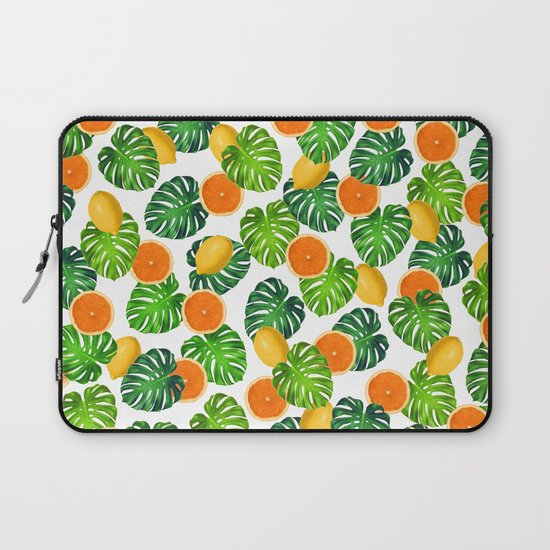 Oranges Lemons Monstera White by eveystudios