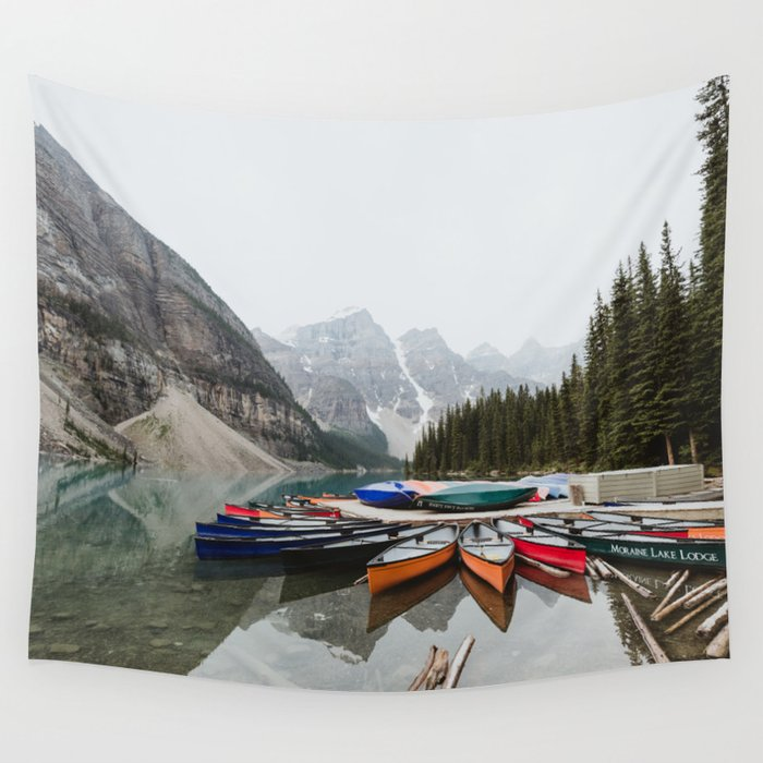Moraine Lake Canoes Wall Tapestry