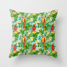 Tropical Parrot Chillin Throw Pillow