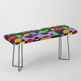 Rainbow Geometric Multicolored Modern Circle Pattern Bench