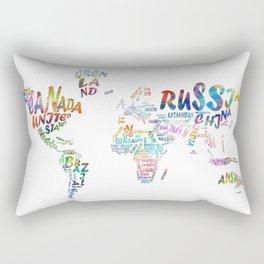 world map watercolor typography 1 Rectangular Pillow