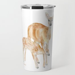 Mother and Baby Deer Watercolor Travel Mug