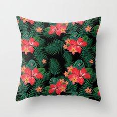 Tropical Black Throw Pillow