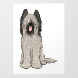 Cute Briard Cartoon Dog Art Print
