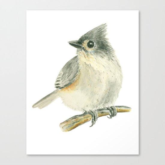 Tit bird, watercolor painting Canvas Print