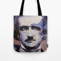 edgar allan poe Tote Bags featuring Edgar Allan Poe by Michael Creese