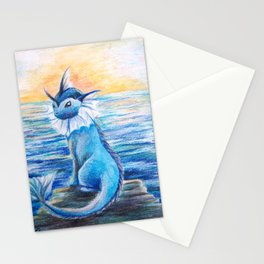Vaporeon By The Sea At Dawn Stationery Cards