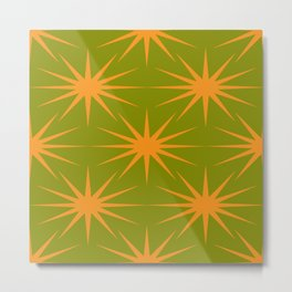 Mid-Century Modern Art Starburst 2.6 Orange Avocado Metal Print