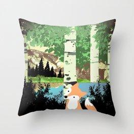 fox in woods Throw Pillow