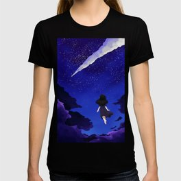 Behold the Galaxy - Anime Girl looking at the Stars T-shirt
