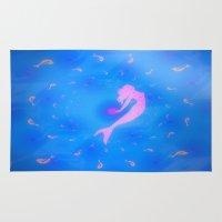 mermaids Area & Throw Rugs featuring mermaids by Laura Santeler