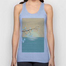 Delicate Asian Inspired Image of Pastel Sky and Lake with Silver Leaves on Branch Unisex Tank Top