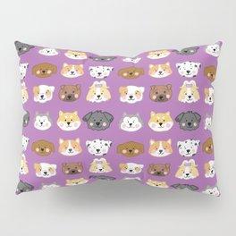 Nine Cute Dogs in Purple Pillow Sham