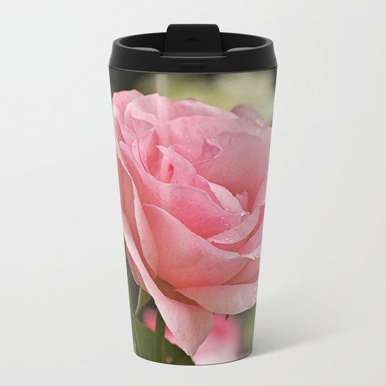 Pink wet rose Metal Travel Mug
