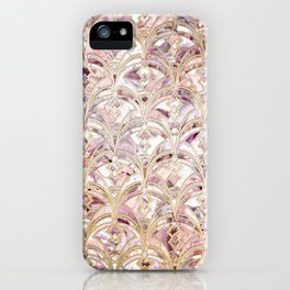 Dusty Rose and Coral Art Deco Marbling Pattern iPhone Case