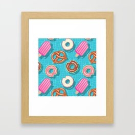 Poolparty doughnuts, pretzel,lollies Framed Art Print