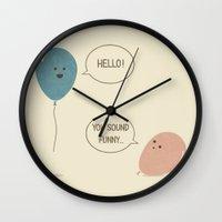 balloons Wall Clocks featuring Balloons by Teo Zirinis