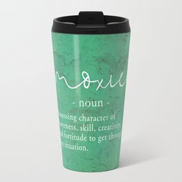 Moxie Definition - White on Green Texture Travel Mug