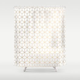 Gold Geometric Pattern on White Background Shower Curtain