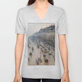 Camille Pissarro - The Boulevard Montmartre on a Winter Morning Unisex V-Neck